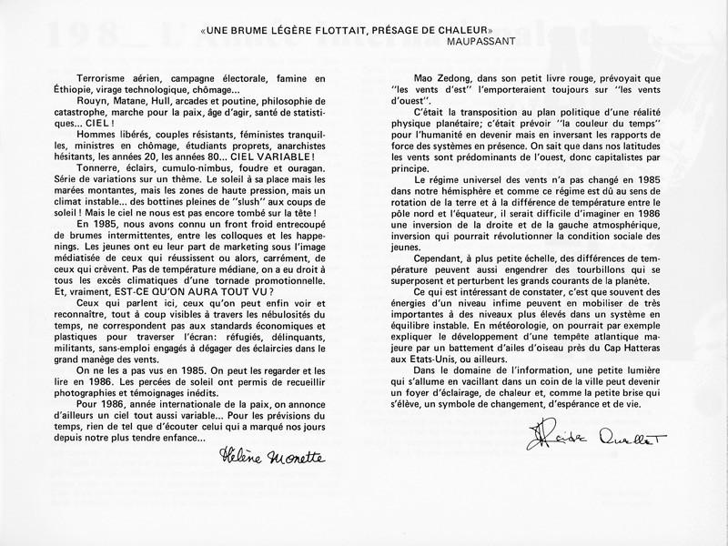 Hélène Monette, Éditorial, Ciel variable 1, p.7. © Tous droits réservés