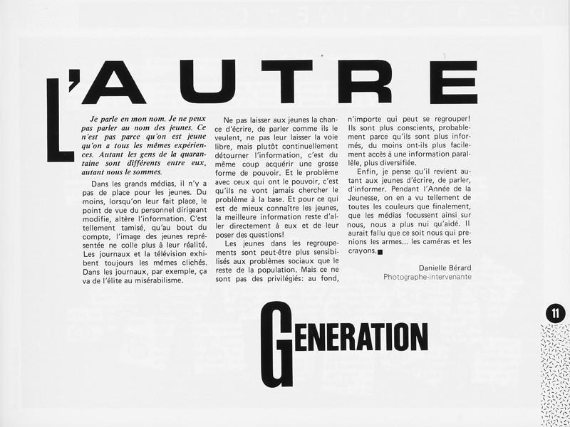 Danielle Bérard, L'autre génération, Ciel variable 1, p.11. © Tous droits réservés