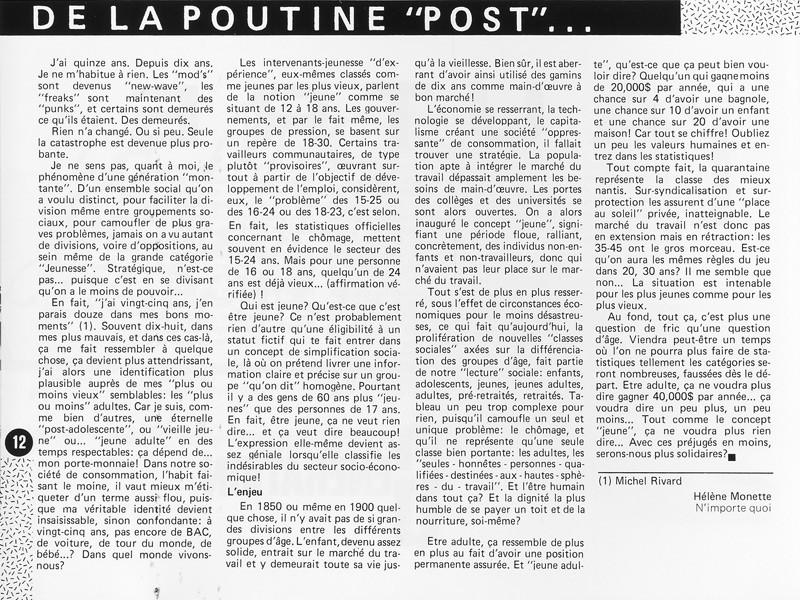 """Hélène Monette, De la poutine """"post"""" aux statistiques, Ciel variable 1, p.12. © Tous droits réservés"""