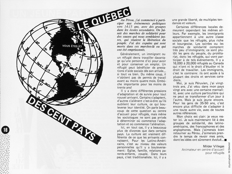 Milder Villegas, Le Québec des Cent pays, Ciel variable 1, p.18. © Tous droits réservés
