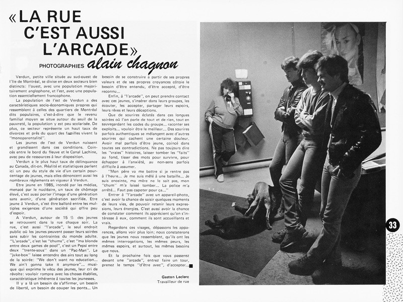 """Gaston Leclerc, """"La rue c'est aussi l'arcade"""", Ciel variable 1, p.33. © Tous droits réservés"""