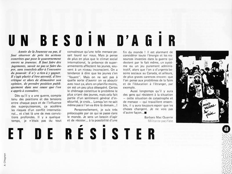 Barbara Mac Quarrie, Un besoin d'agir et de résister, Photo: Alain Chagnon, Ciel variable 1, p.49. © Tous droits réservés