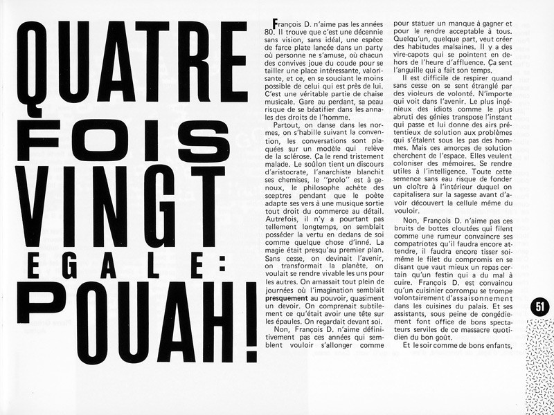 Pierre Grimard, Quatre fois vingt égale : pouah! Ciel variable 1, p.51. © Tous droits réservés