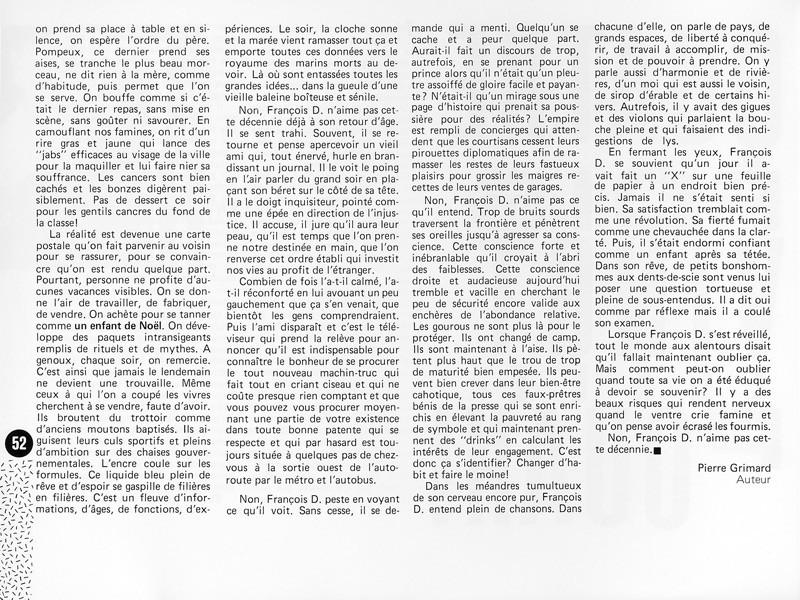 Pierre Grimard, Quatre fois vingt égale : pouah! Ciel variable 1, p.52. © Tous droits réservés
