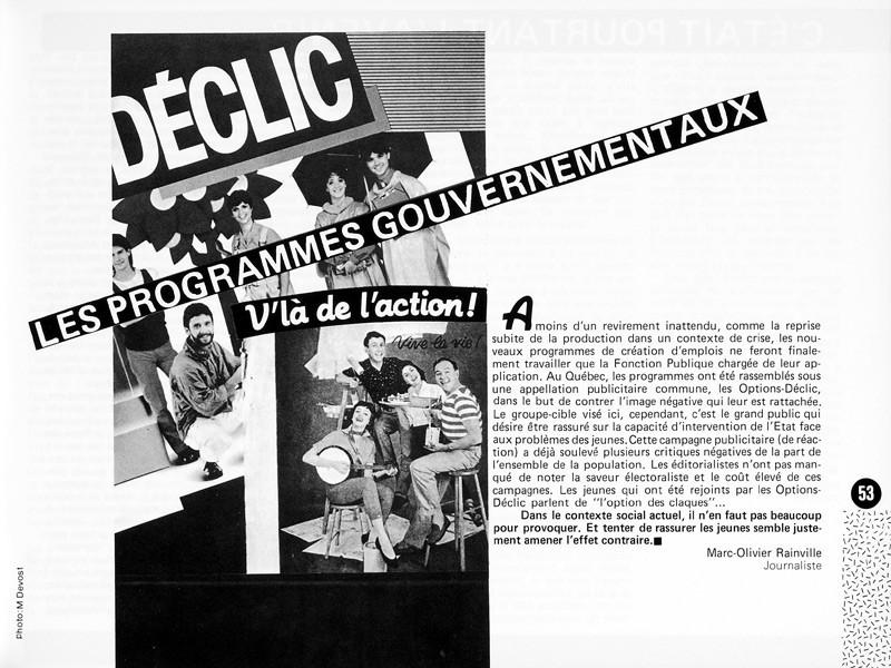 Marc-Olivier Rainville, Les programmes gouvernementaux, Photo: Marlène Devost, Ciel variable 1, p.53. © Tous droits réservés