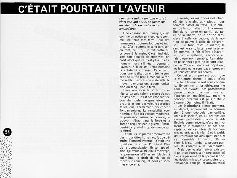 Michel Gagné, C'était pourtant l'avenir, Ciel variable 1, p.54. © Tous droits réservés