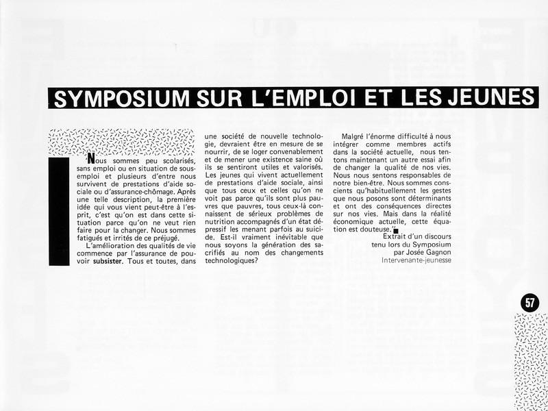 Josée Gagnon, Symposium sur l'emploi et les jeunes, Ciel variable 1, p.57. © Tous droits réservés