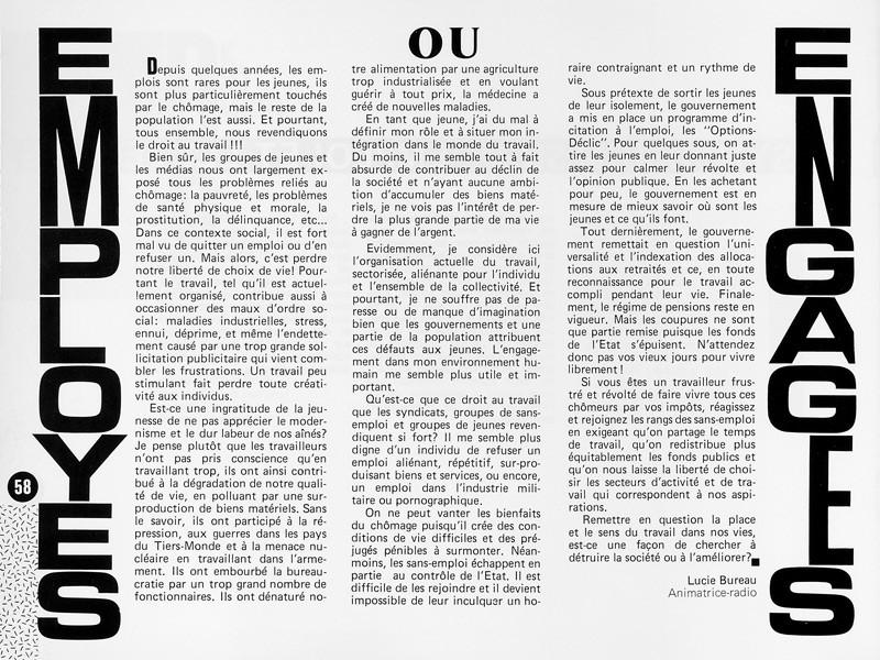 Lucie Bureau, Employés ou engagés?, Ciel variable 1, p.58. © Tous droits réservés
