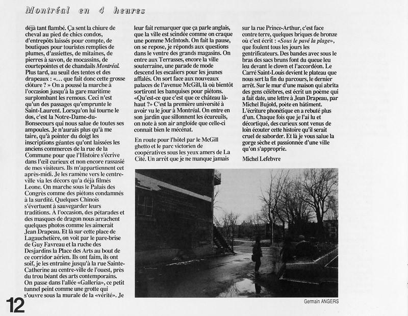 Photo: Germain Angers, Michel Lefebvre, Montréal en 4 heures, Ciel variable 2, p.12. © Tous droits réservés