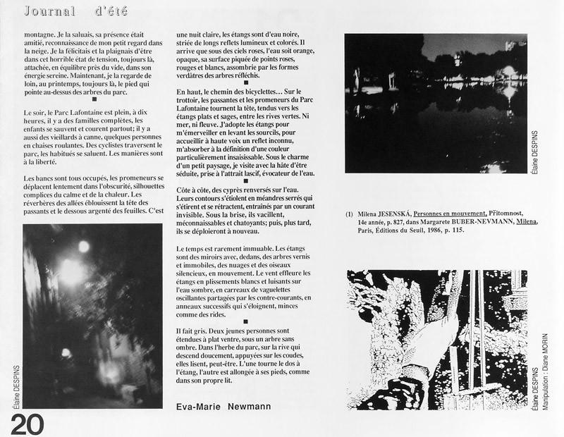 Photo: Élaine Despins, Eva-Marie Newmann, Journal d'été, Ciel variable 2, p.20. © Tous droits réservés