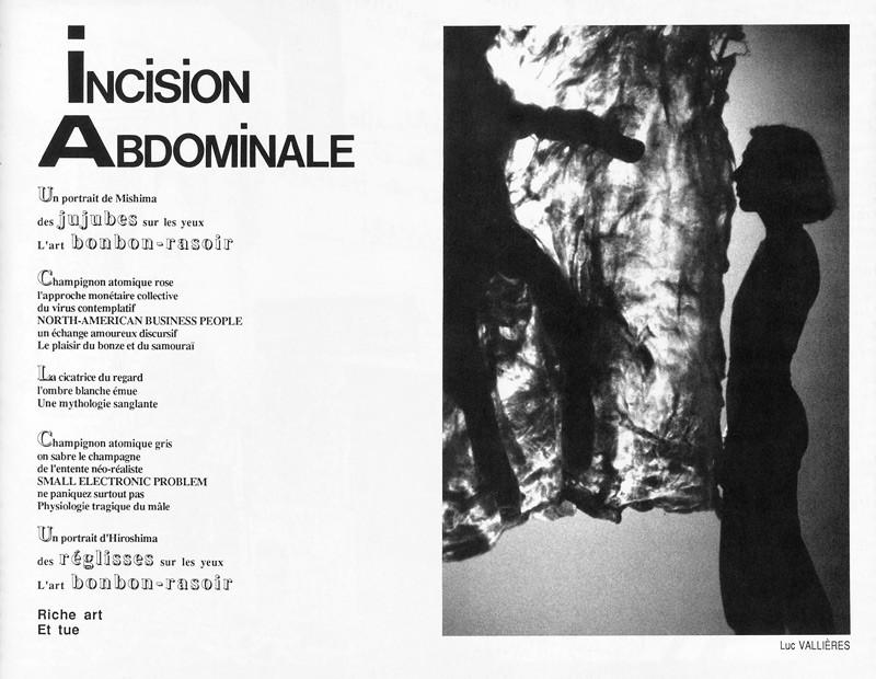 Photo: Luc Vallières, Incision abdominale, Ciel variable 2, p.49. © Tous droits réservés