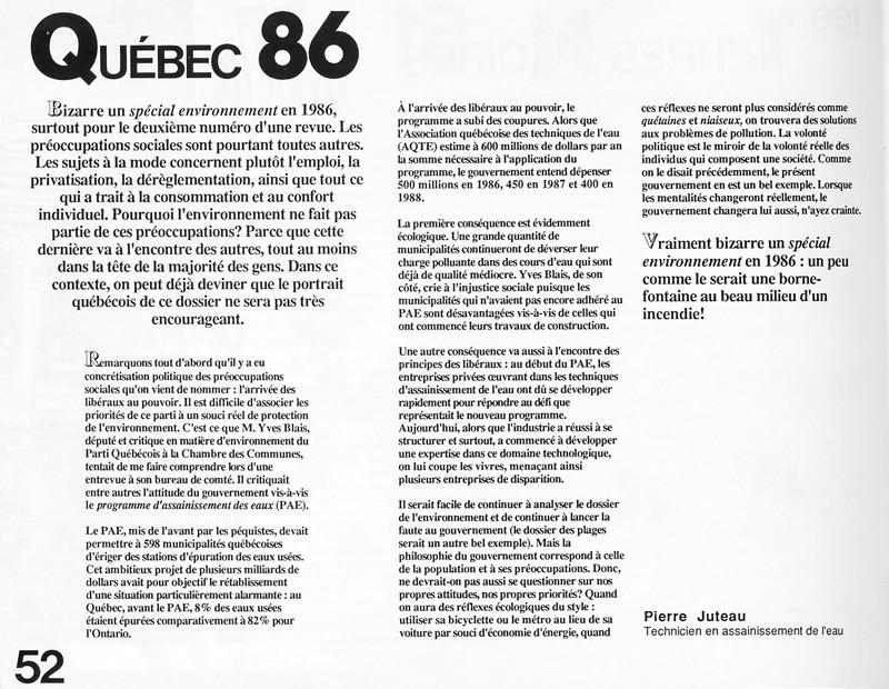 Pierre Juteau, Québec 86, Ciel variable 2, p.52. © Tous droits réservés