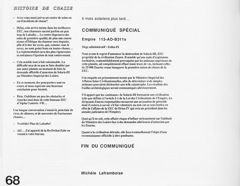 Michèle Laframboise, Histoire de chasse, Ciel variable 2, p.68. © Tous droits réservés