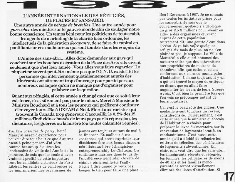 Dominique Ritchot, 1987: l'année internationale des régufiés, déplacés et sans-abri, Ciel variable 3-4, p.17. © Tous droits réservés