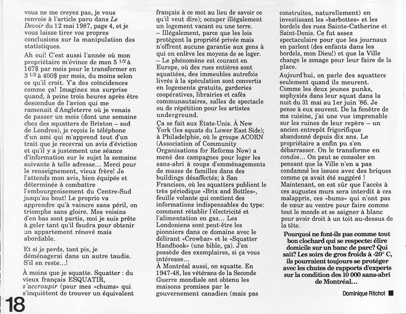 Dominique Ritchot, 1987: l'année internationale des régufiés, déplacés et sans-abri, Ciel variable 3-4, p.18. © Tous droits réservés