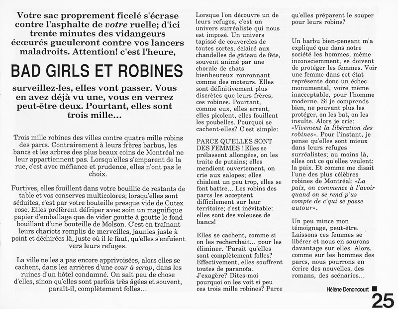 Hélène Denoncourt, Bad Girls et Robines, Ciel variable 3-4, p.25. © Tous droits réservés