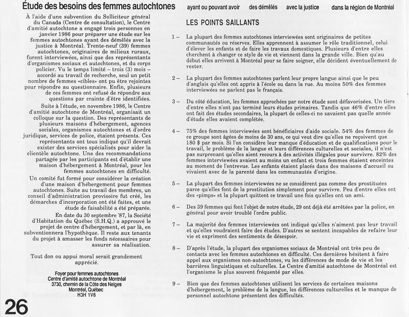 Études des besoins des femmes autochtones, par le Foyer pour femmes autochtones, Ciel variable 3-4, p.26. © Tous droits réservés