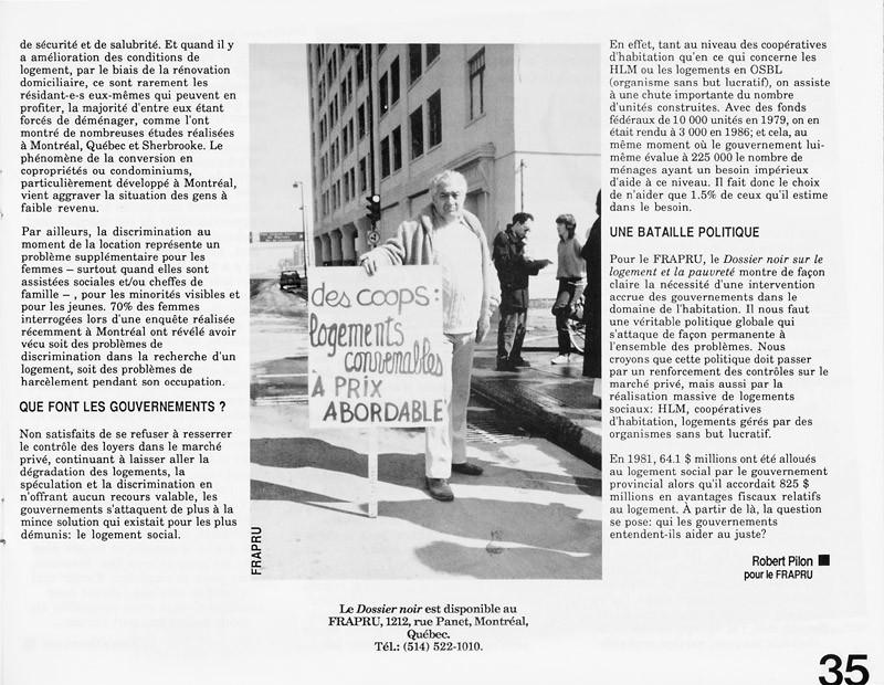 Robert Pilon, Un dossier noir, Ciel variable 3-4, p.35. © Tous droits réservés