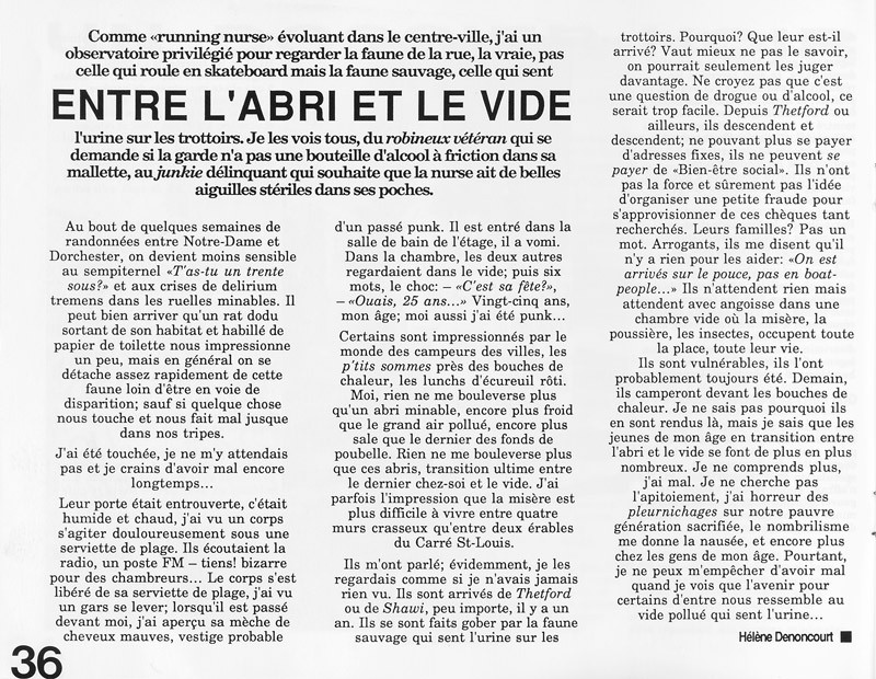 Hélène Denoncourt, Entre l'abri et le vide, Ciel variable 3-4, p.36. © Tous droits réservés