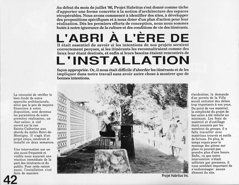 Projet Habritus inc., L'abri à l'ère de l'installation, Ciel variable 3-4, p.42. © Tous droits réservés