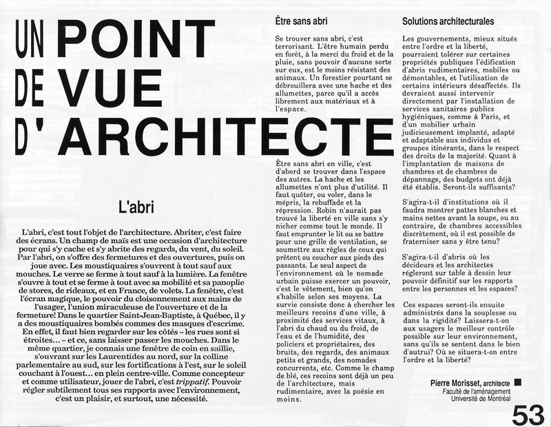 Pierre Morisset, Un point de vue d'architecte, Ciel variable 3-4, p.53. © Tous droits réservés