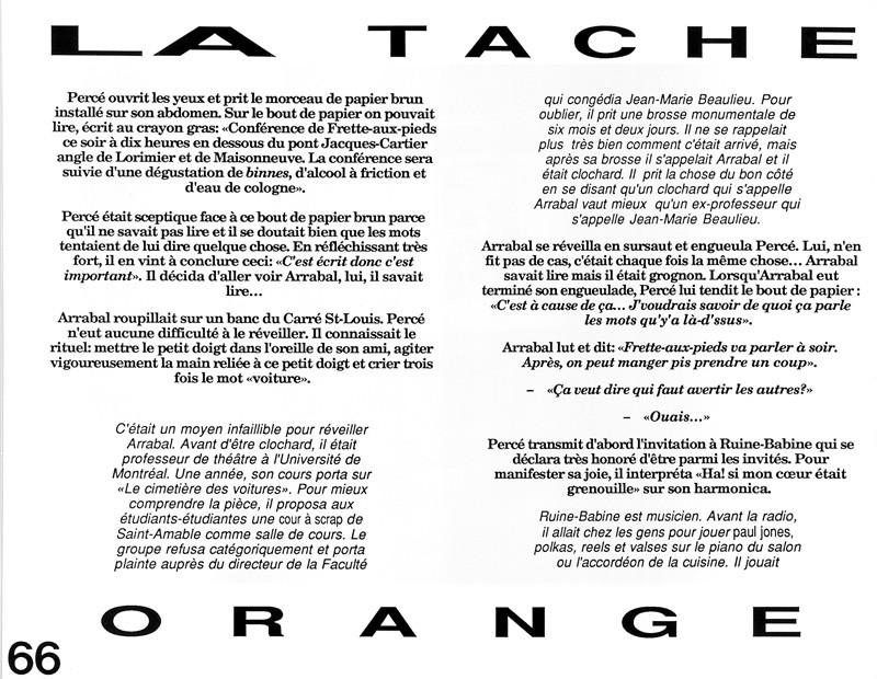 Pierre-Michel Tremblay, La tache orange, Ciel variable 3-4, p.66. © Tous droits réservés