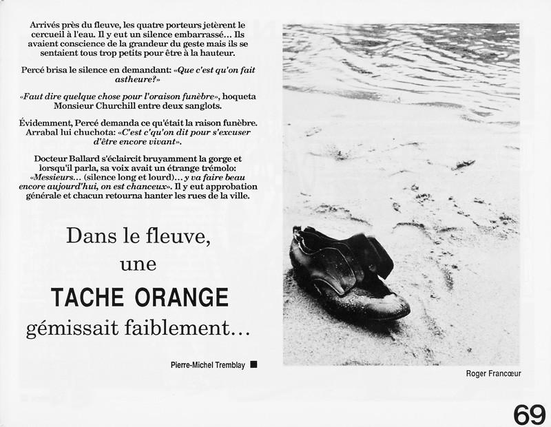 Photo: Roger Francoeur. Pierre-Michel Tremblay, La tache orange, Ciel variable 3-4, p.69. © Tous droits réservés