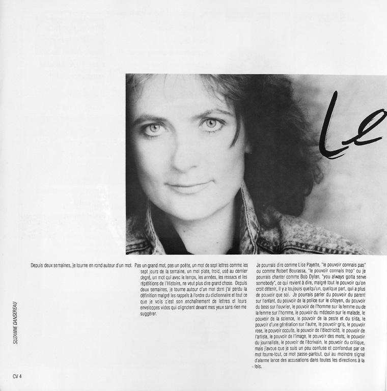 Photo : Suzanne Dansereau, Sans titre. Nathalie Petrowski, Le pouvoir est ailleurs..., Ciel variable 05, p.4. ©Tous droits réservés