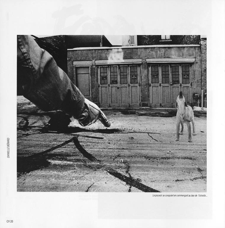Photo: Danielle Bérard, Le pouvoir se conquiert en commençant au bas de l'échelle... Marc Olivier Rainville, Power, Ciel variable 05, p.20. ©Tous droits réservés