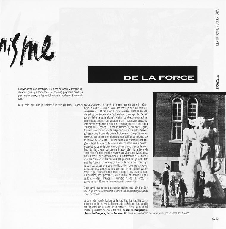 Photo: Roch Collin, Sans titre. Paul Chamberland, L'exhibitionisme de la force, Ciel variable 05, p.33. ©Tous droits réservés