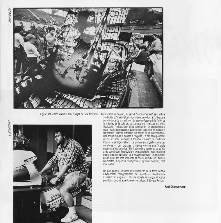 Photo: Bernard Jeay, Lucie Ouimet, Sans titres. Paul Chamberland, L'exhibitionisme de la force, Ciel variable 05, p.34. ©Tous droits réservés