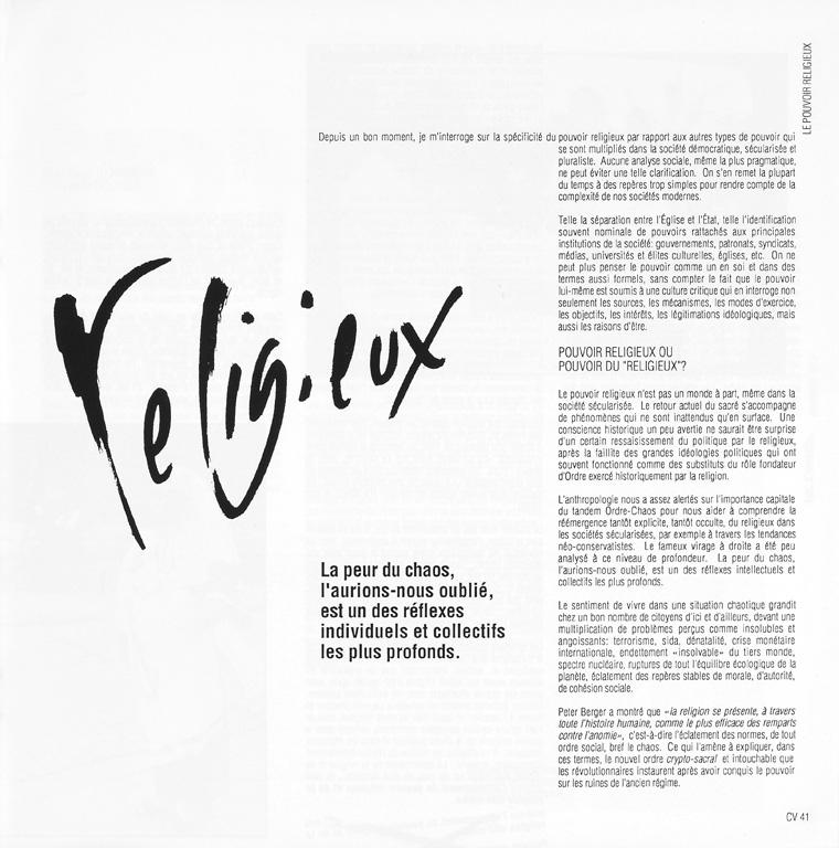 Jacques Grand'Maison, Le pouvoir religieux, Ciel variable 05, p.41. ©Tous droits réservés