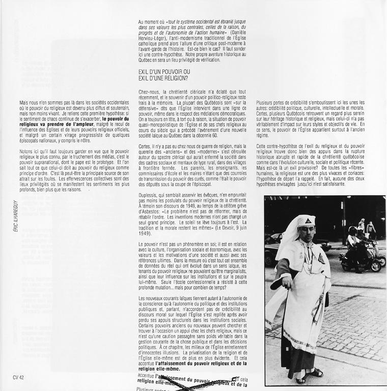 Photo: Éric Ilhareguy, Sans titre. Jacques Grand'Maison, Le pouvoir religieux, Ciel variable 05, p.42. ©Tous droits réservés