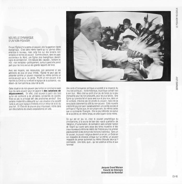 Photo: Bernard Jeay, Sans titre. Jacques Grand'Maison, Le pouvoir religieux, Ciel variable 05, p.43. ©Tous droits réservés