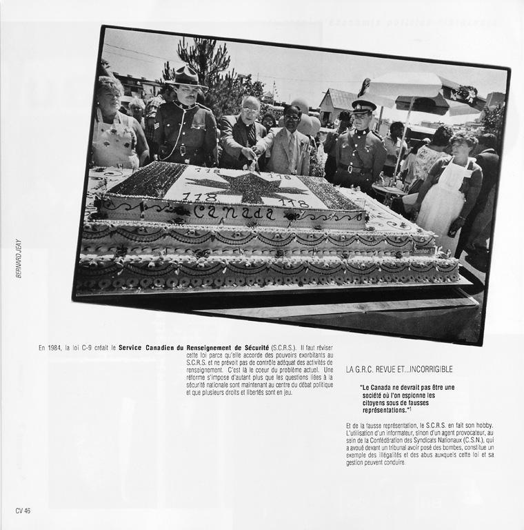 Photo: Bernard Jeay, Sans titre. Daniel Hubert, Les services de renseignement: c'est pas du gâteau!, Ciel variable 05, p.46. ©Tous droits réservés