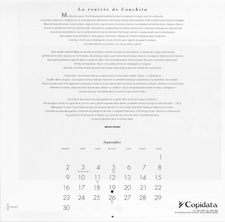 Michel Ouellet, La rentrée de Conchita (septembre), Ciel variable 10. p. 23. © Tous droits réservés