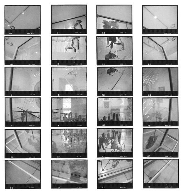 Bill Vazan, Vendredi 5 mars 1993, Globes de Grand Verre (Triple Rotation dans l'hyperespace), Philadelphia Museum of Art, diptyque. © Bill Vazan