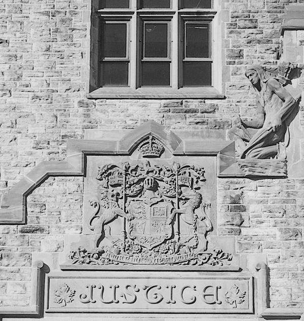 Jeffrey Thomas, L'indien de la justice, édifice du ministère de la justice, Ottawa, Ontario, 1998 (détail)