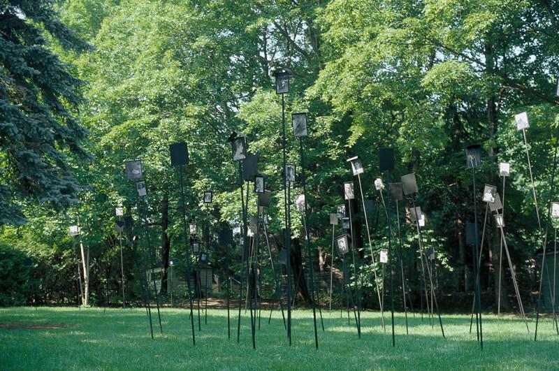 Patrick Altman, Sans titre (ensemble), 80 photographies sur tiges métalliques, 2.5 m de hauteur, installation in situ, Maison Hamel-Bruneau, Québec, 1996. © Patrick Altman