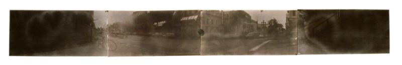 Jean-Philippe Lemay, Angles, 1999, van dyck brown quadriptyque sur papier arche, 30 x 209 cm. © Jean-Philippe Lemay