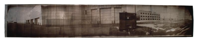 Jean-Philippe Lemay, Agence spatiale, 1999, van dyck brown sur papier stonehenge, 64 x 348 cm. © Jean-Philippe Lemay