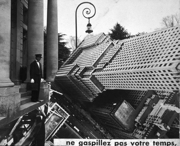 Maurice Tabard, Ne gaspillez pas votre temps, photomontage, épreuve argentique, 16 cm x 19,4 cm, vers 1927. Collection Centre Canadien d'Architecture / Canadian Centre for Architecture, Montréal. © CCA