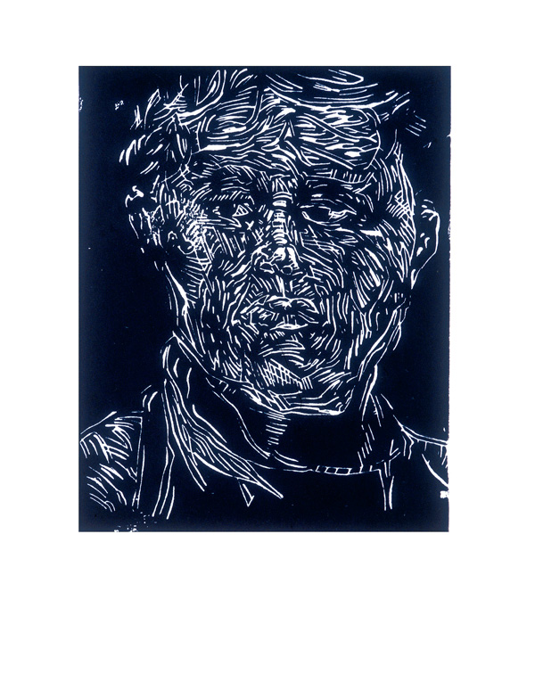 David Cation, Dunning, from the Portrait suite, 1997, linocut print, Carleton University Art Gallery. © Tous droits reserves