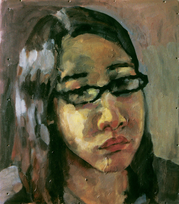 Germaine Koh, Self - portrait (detail), ongoing since 1994, oil on panel in layered states, with photo documentation of previous states, Kelowna Art Gallery. © Tous droits reserves