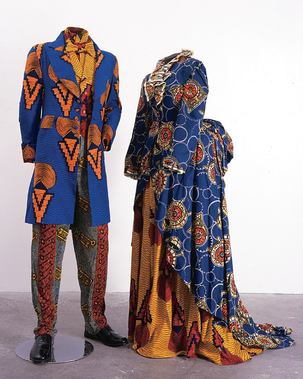 Yinka Shonibare, Victorian Couple, 1999, wax printed cotton textile, approx. 153 x 92 x 92cm / approx. 153 x 61 x 61cm, Collection Susan and Lewis Manilow, Chicago, © Yinka Shonibare