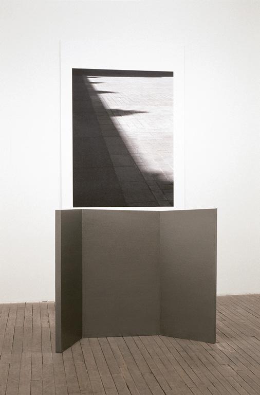 Jocelyne Alloucherie, Ombres I, 2000-2001, épreuve numérique, bois et pigments, image : 127 x 218 cm, objet : 102 x 122 x 38 cm. © Jocelyne Alloucherie