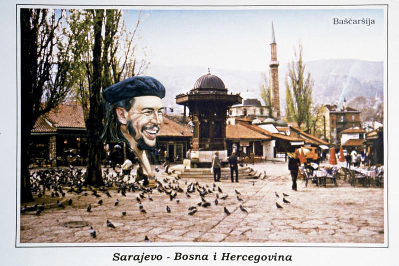 Sadko Hadzihasanovic, Che in Sarajevo, 2002, huile et impression au jet d'encre sur canevas, 127 cm x 153 cm. © Sadko Hadzihasanovic