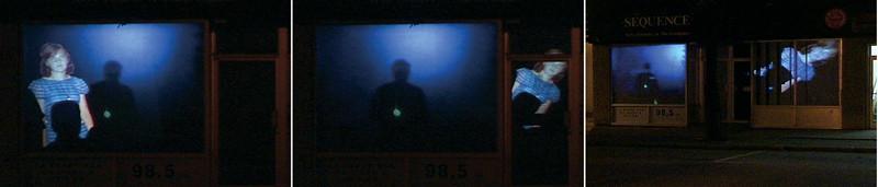 Manon Labrecque, Raid, vues d'installation, projection vidéo couleur, 2004. © Manon Labrecque