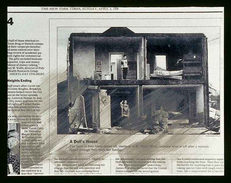 Melvin Charney, UN DICTIONNAIRE… La Structure des structures (séries 10-19): série 14 : Cadres - planches 4, 5, 7, 9, 10, 11 ; série 17 : Rues - planches 1, 2, 6, 8, 9, 10. Toutes les œuvres reproduites sont extraites de UN DICTIONNAIRE… , 1970-2001, 427 planches regroupées en 46 séries, acrylique sur épreuves argentiques à la gélatine montées sur carton archive, 27.8 x 35.5 ou 28 x 35 cm, collection du Centre canadien d'architecture, Montréal. © Melvin Charney/SODRAC (2010)