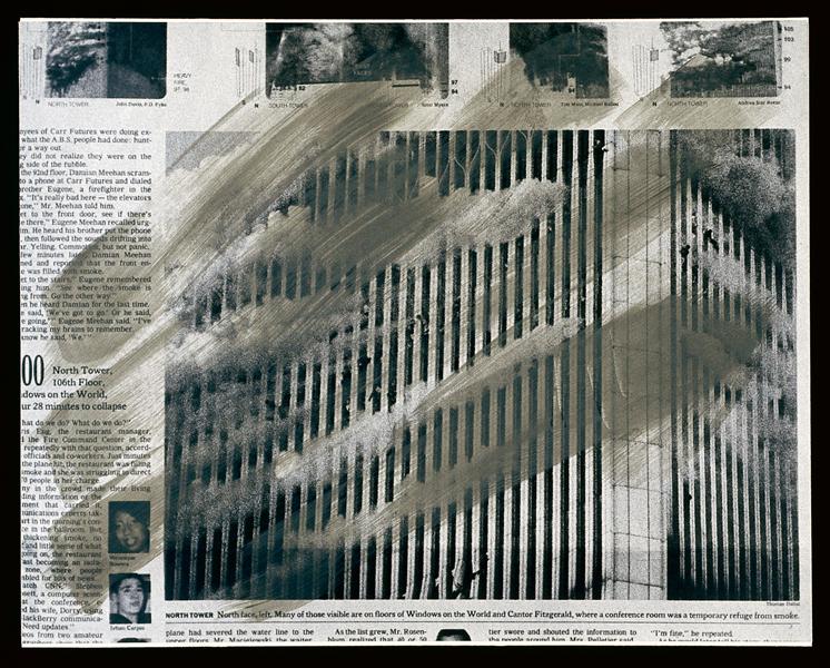Melvin Charney, UN DICTIONNAIRE… Événements critiques (séries 100-109), série 100 : New York, 9/11/2001 - planches 6 à 9. Toutes les œuvres reproduites sont extraites de UN DICTIONNAIRE… , 1970-2001, 427 planches regroupées en 46 séries, acrylique sur épreuves argentiques à la gélatine montées sur carton archive, 27.8 x 35.5 ou 28 x 35 cm, collection du Centre canadien d'architecture, Montréal. © Melvin Charney/SODRAC (2010)